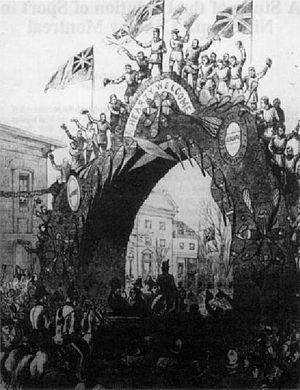 Montreal Snow Shoe Club - The MSSC's arch constructed in 1878 to welcome Lord Dufferin to Montreal
