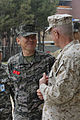 Maj. Gen. James S. Hartsell, Commanding General of 4th Marine Division, speaks with Republic of Korea Marine Commanding General of 1st Marine Division, during exercise Ssang Yong, Pohang, South Korea, April 3, 2014.JPG