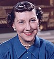 Mamie Eisenhower color photo portrait, White House, May 1954 (cropped).jpg