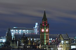 Manchester Town Hall by night from Renaissance Hotel.JPG