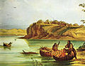 Mandan Bull Boats and Lodges- George Catlin.jpg
