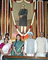 Manmohan Singh, the Speaker, Lok Sabha, Shri Somnath Chatterjee and the Chairperson, UPA, Smt. Sonia Gandhi paid tributes at the portrait of Baba Saheb, Dr. B. R. Ambedkar, on the occasion of his 117th Birth Anniversary.jpg