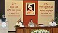 Manmohan Singh addressing at the 27th Indira Gandhi National Integration Award function, in New Delhi. The Chairperson, National Advisory Council, Smt. Sonia Gandhi and the Poet, Lyricist, Writer and Director.jpg