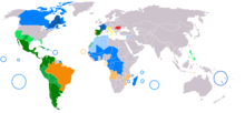 World map showing use of romanic languages as coloured areas.  Dark colours indicate official languages; light colours indicate unofficial but commonly spoken languages.  Spanish is shown in green, Portuguese in orange, French in blue, Italian in yellow and Romanian in red.