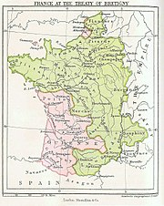 Map showing 14th-century France in green, with the southwest and parts of the north in pink.