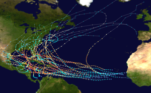 tracks of all known category 5 atlantic hurricanes between and