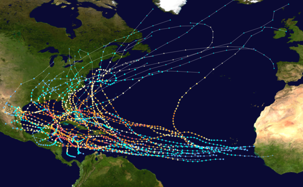 Tracks of all known Category 5 Atlantic hurricanes between 1851 and 2019 Map of Atlantic Category Five hurricanes.png