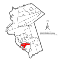 Map of Dauphin County, Pennsylvania highlighting Swatara Township