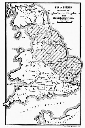 Danelaw - Map of England showing the Anglo-Saxon kingdoms and Danish districts – from Cassell's History of England, Vol. I – anonymous author and artists