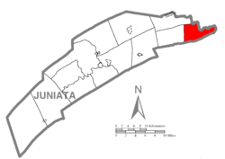Map of Juniata County, Pennsylvania highlighting Susquehanna Township