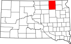 map of South Dakota highlighting Brown County