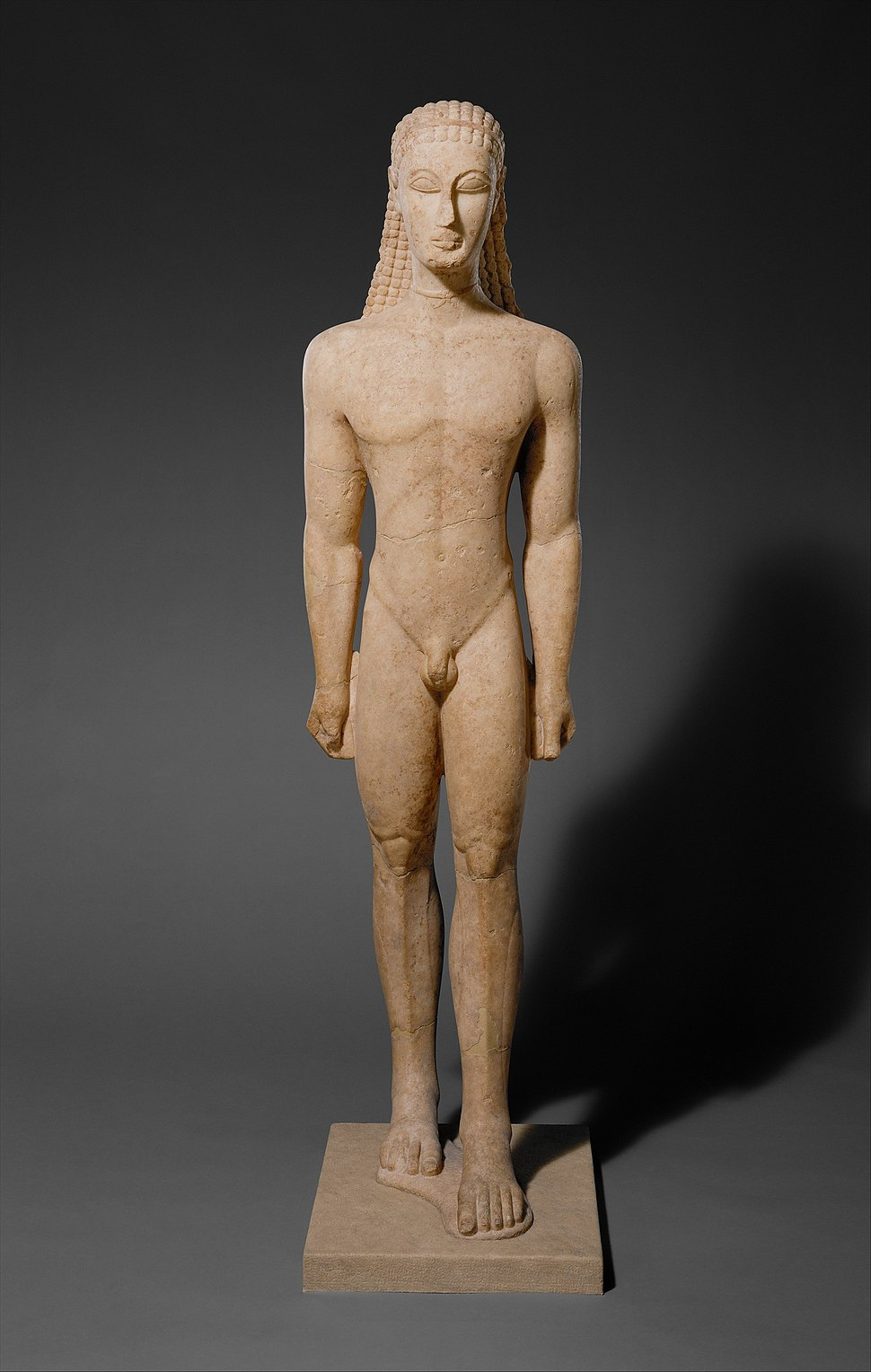 Marble statue of a kouros (youth) MET DT263