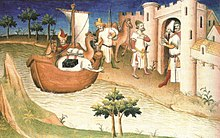 drawing of Marco Polo disembarking from ship and entering castle with camels