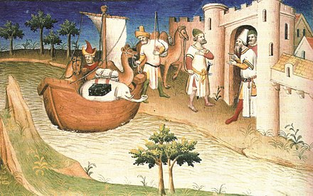 Marco Polo arriving in a desert land with camels. 14th-century miniature from Il milione. Marco Polo traveling.JPG