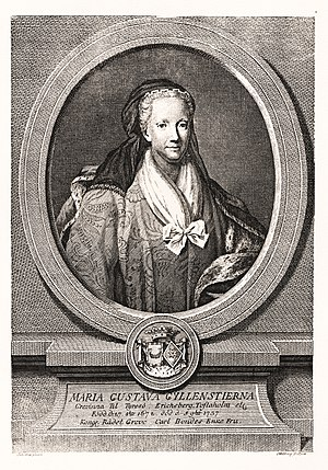 1737 in Sweden - Maria Gustava Gyllenstierna. Engraving by Jacob Gillberg.