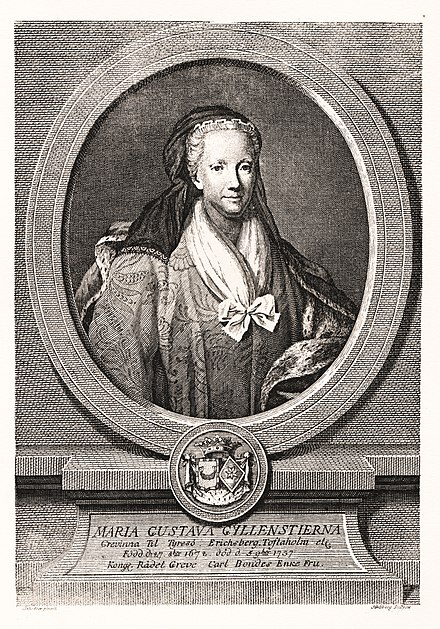 The Swedish writer Maria Gustava Gyllenstierna (1672-1737); as a taxpaying property owner, and a woman of legal majority due to her widowed status, she belonged to the women granted suffrage in accordance with the constitution of the age of liberty (1718-1772). Maria Gustava Gyllenstierna SP156.jpg