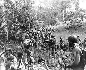 United States Marines rest in this field during the Guadalcanal campaign
