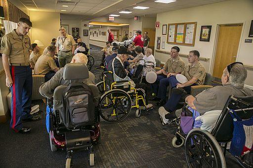 Marines visit Nininger Veterans' Nursing Home 150507-M-BZ918-038