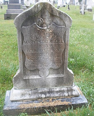 Mary Young Pickersgill - Pickersgill's grave marker, Loudon Park Cemetery, Baltimore