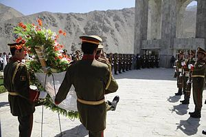 Ahmad Shah Massoud - Afghan National Army honouring Massoud's resistance at his tomb and memorial in September 2010