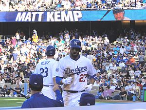 Matt Kemp - Kemp returns to the dugout after hitting a home run on May 22, 2010