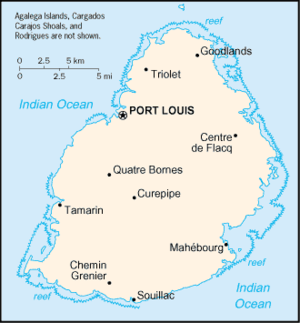An enlargeable basic map of Mauritius