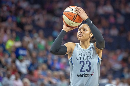 Sports Illustrated named Maya Moore of the Lynx their inaugural Performer of the Year in 2017, calling her the greatest winner in the history of women's basketball. Moore is on sabbatical in 2019. Maya Moore (23) takes a shot in the Minnesota Lynx vs Atlanta Dream game.jpg