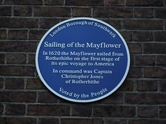 Mayflower - Historical marker in London honoring the Mayflower and Captain Jones.