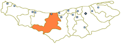 Location of Nur County in Mazandaran Province