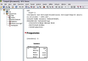 English: This is a screen shot of SPSS Syntax ...