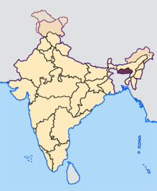 Map of India with the location of మేఘాలయ highlighted.