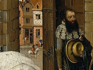 Mérode Altarpiece - Left panel, with street scene and attendant