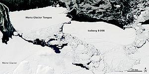 Iceberg B-9 - Iceberg B-9B colliding with the Mertz Glacier Tongue calving the Mertz iceberg, 20 February 2010