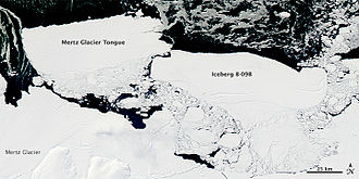 Satellite image of Iceberg B-9B colliding with the Mertz Glacier Tongue
