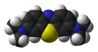 Space-filling model of methylene blue in its oxidised form
