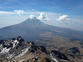 Popocatépetl and Iztaccíhuatl - Popocatépetl from near the summit of Iztaccíhuatl.