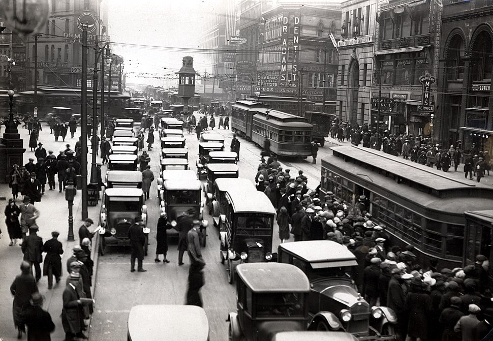 Michigan & Griswold circa 1920