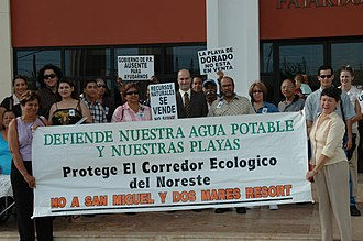 Northeast Ecological Corridor - Members of the Coalition for the Northeast Ecological Corridor in front of the Fajardo Courthouse in Puerto Rico, after presenting legal action to halt permits issued for the San Miguel Resort construction.