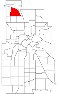 Location of Webber-Camden within the U.S. city of Minneapolis