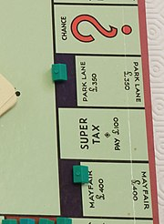 Cross section of a standard British Monopoly board, showing Park Lane and Mayfair