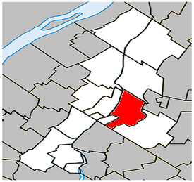 Location within La Vallée-du-Richelieu Regional County Municipality.