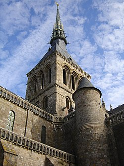 Abbey spire, Mont Saint Michel, France