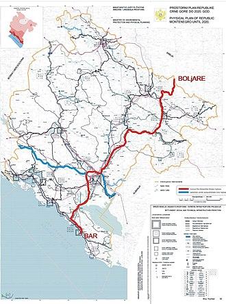Adriatic–Ionian motorway - Corridors of future motorways in Montenegro. Adriatic - Ionian motorway is marked in blue