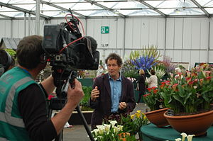 Monty Don - Don records a piece to camera, for BBC Gardeners' World, at Gardeners' World Live 2012