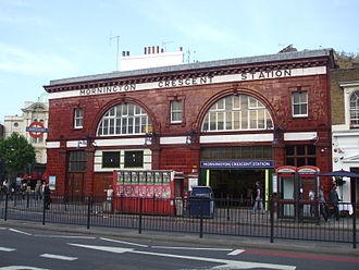 A400 road (Great Britain) - Mornington Crescent station, on the Hampstead Road section