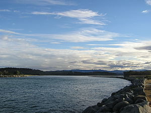 The Moruya River looking upstream from the bre...