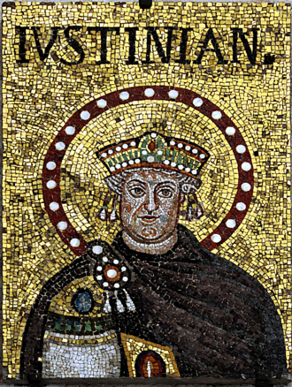 An older Justinian; mosaic in Basilica of Sant'Apollinare Nuovo, Ravenna (possibly a modified portrait of Theodoric) Mosaic of Justinian I - Sant'Apoilinare Nuovo - Ravenna 2016.png