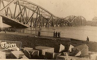 History of Toruń - Toruń bridge blown up at the beginning of Second World War