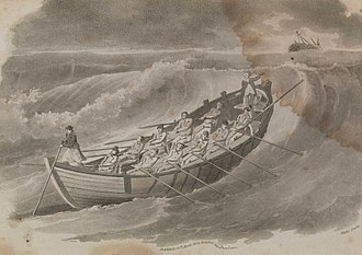 Henry Greathead - Engraving entitled Mr Henry Greathead's Life Boat going out to assist a Ship in distress, 1803