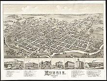 Illustration of Muncie, looking southeast in 1884.